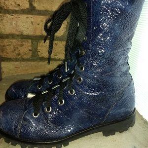 Marc Jacobs sparkle leather combat boots